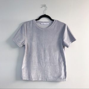 DOUBLE ZERO Velvet Light Grey Top
